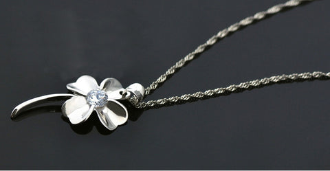 Clover Silver Pendant Zircon Set - Platinum Treated | Wholesale Charms - 1PROY Driftwood & Healing Stones