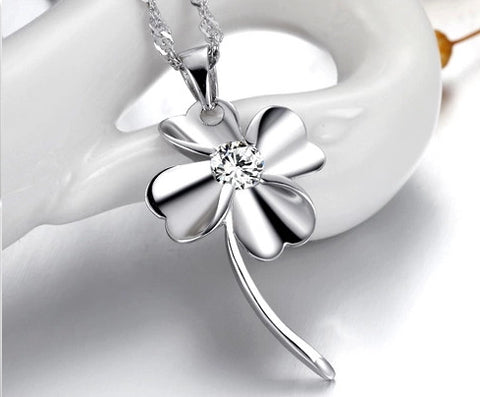 Clover Silver Pendant Zircon Set - Platinum Treated | Wholesale Charms