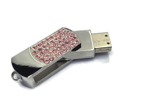 Steel USB Jewelry Flash Drive Pendant - Rhinestone 8GB 16GB 32GB