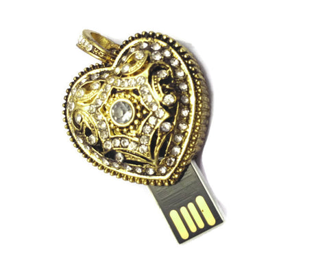 Indian Jewelry USB Flash Drive - Heart | 4GB 8GB 16GB 32gb