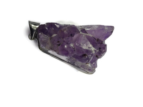 Amethyst Pendant- Drusy Quartz Silver Wrapped Healing Crystal & Stones - 1PROY Driftwood & Healing Stones