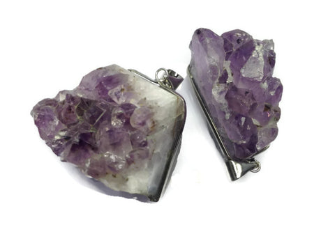 Amethyst Pendant- Drusy Quartz Silver Wrapped Healing Crystal & Stones