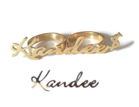 Custom Name Knuckle Duster - Silver / Gold | Personalized Signature Rings - 1PROY Driftwood & Healing Stones