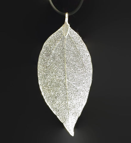Silver/ Gold Real Leaf Pendant Large | Unique Wholesale Charm Supplies - 1PROY Driftwood & Healing Stones