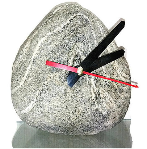 Real Stone Table Clock | Primitive Rock Desk Clock Home Decor Arts