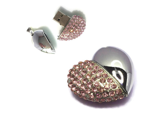 Steel & Rhinestone Heart USB Pendant Charm | Flash Drive with Magnetic Cap
