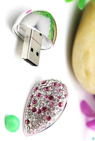 Steel & Rhinestone Heart USB Pendant Charm | Flash Drive with Magnetic Cap - 1PROY Driftwood & Healing Stones