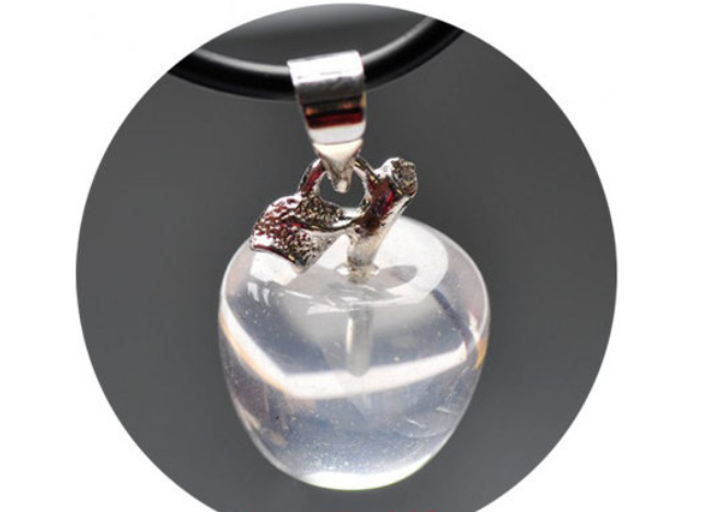 Super Clear Crystal Apple Pendant | Healing Crystal & Stones Supplies - 1PROY Driftwood & Healing Stones