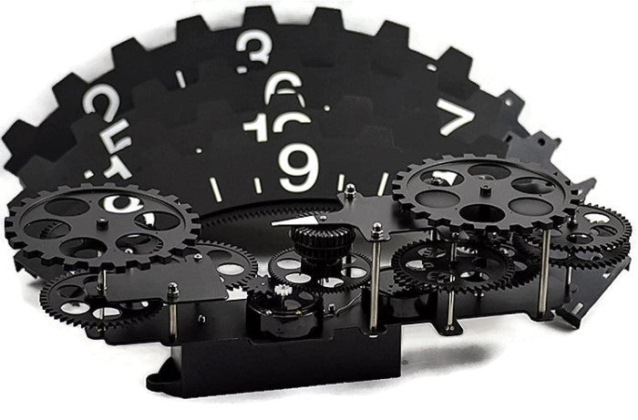 "Gear Wall Decor extra large industrial ""hands-free"" gear wall clock 