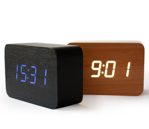 Wood LED Alarm Clock - Cube | Sound Activated Decorative Clocks