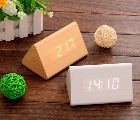 Wood LED Alarm Clock Sound Activation | Modern Decorative Clocks - 1PROY Driftwood & Healing Stones
