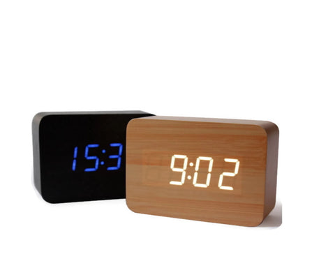 Wood LED Alarm Clock - Cube | Sound Activated Decorative Clocks - 1PROY Driftwood & Healing Stones