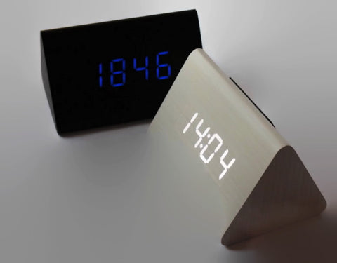 Wood LED Alarm Clock Sound Activation