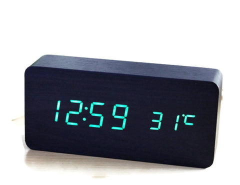 Medium LED Wood Alarm Clock - Minimalist | Sound Activation