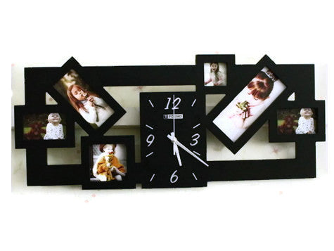 Acrylic Wall Clock W Photo Frames Minimalist Primitive Home Decor 1proy Driftwood Healing Stones