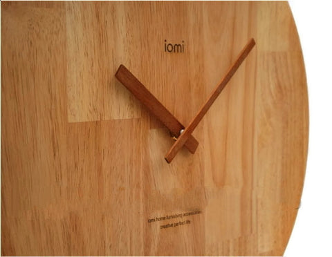 Oak Wall Clock - Large Minimalist | Wood Decor Housewares Accessories