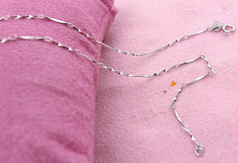 "3pcs Platinum Plated Twisted Bar Chain Fine Guage 18"" 45cm Wholesale - 1PROY Driftwood & Healing Stones"