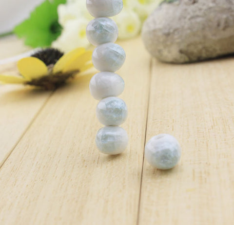 12pcs Ceramic Beads Beadworks | Unique Solid Crack Glazed Beadworks - 1PROY Driftwood & Healing Stones