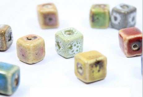 10pcs Ceramics Beads Lot | Solid Mix Glazed Ceramics 10mm Wholesale Beadworks - 1PROY Driftwood & Healing Stones