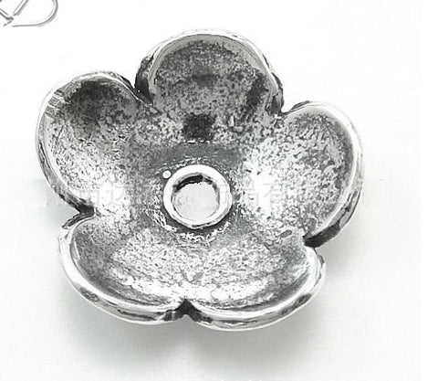 Silver Beads + Caps Set Wholesale 12mm Flower | .925 Sterling Supplies