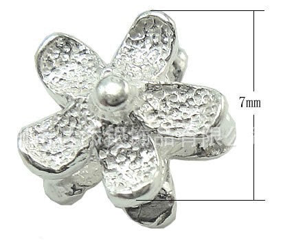 Silver Beads Spacers Lot - Embossed Flower