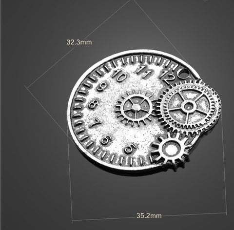 20pcs Vintange Silver Tone Pendants Clock Gear Pendants - Large | Wholesale Charms