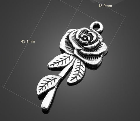 Large Vintage Silver Pendants - Rose | Quality Wholesale Charms - 1PROY Driftwood & Healing Stones