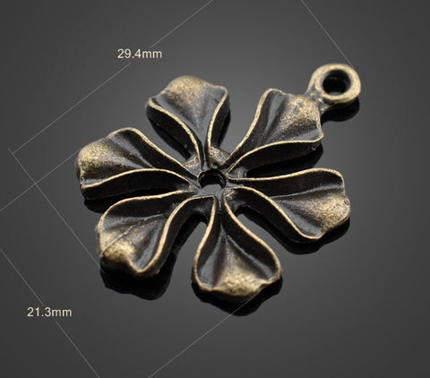 Bronze Charms Lot - Large Vintage Flower | Wholesale Pendants Supplies - 1PROY Driftwood & Healing Stones