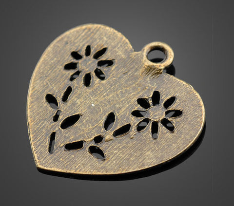 30pcs Bronze Pendant Large Flower Heart | Wholesale Charms Beadworks - 1PROY Driftwood & Healing Stones