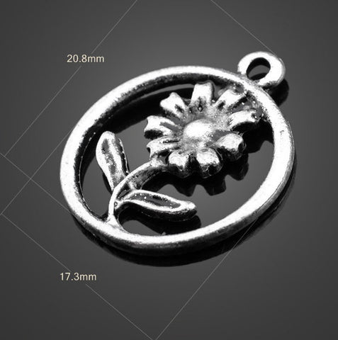 Vintage Silver Flower Charm | Wholesale Pendants for DIY Jewelry - 1PROY Driftwood & Healing Stones