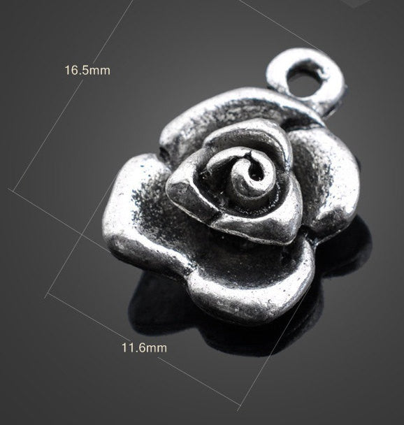 Vintage Silver Pendants - Rose | Wholesale Charms Findings Supplies - 1PROY Driftwood & Healing Stones
