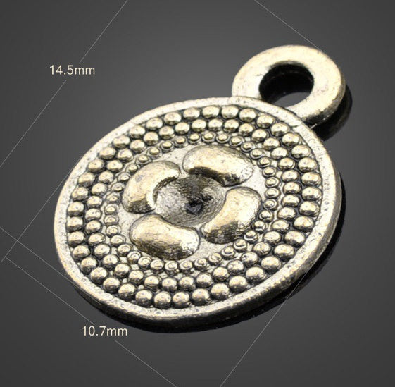 Embossed Brass Pendants Vintage Disk 50pcs | Wholesale Charms - 1PROY Driftwood & Healing Stones