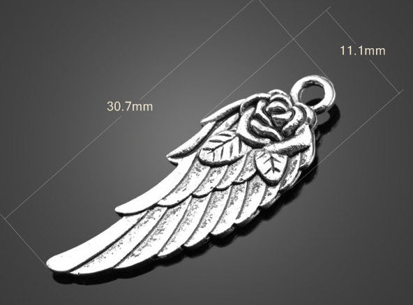 Vintage Silver Wing Charms - Medium | Wholesale Pendants Supplies