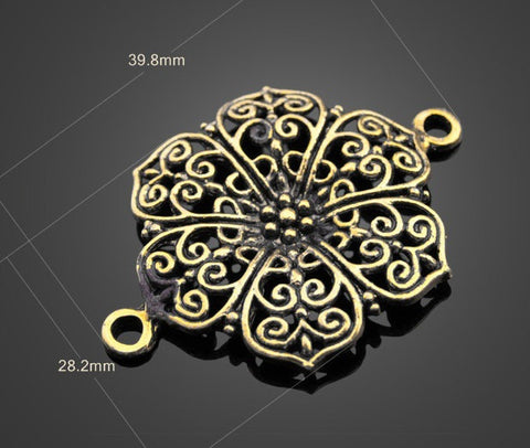 Flower Pendants Wholesale - Large Brass | Charms Supplies - 1PROY Driftwood & Healing Stones