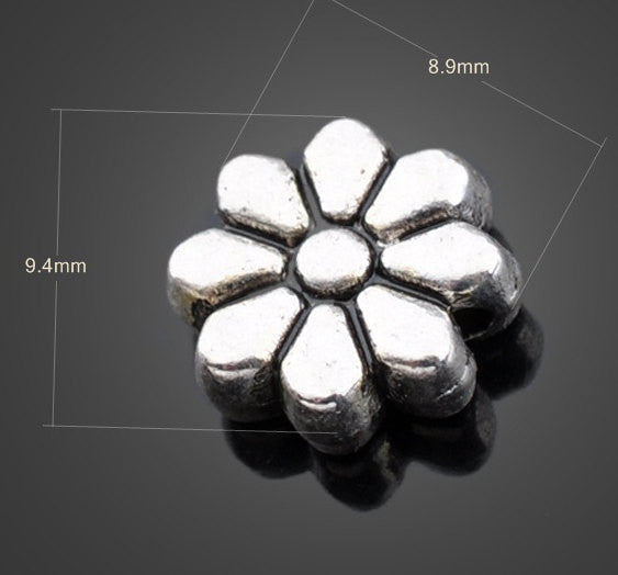 Antiqued Silver Flower Beads Wholesale | DIY Jewelry Charm Supplies - 1PROY Driftwood & Healing Stones