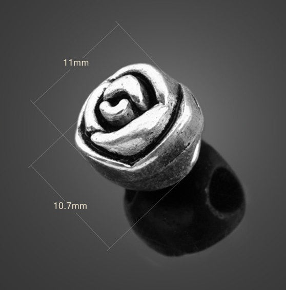 Silver Beads Rose | Valentines | Wholesale Charms Jewelry DIY Supplies - 1PROY Driftwood & Healing Stones