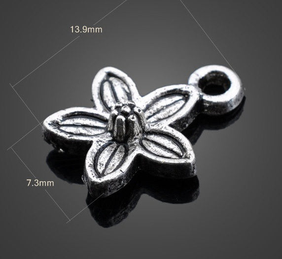Vintage Flower Silver Pendant Beads | Wholesale Charms DIY - 1PROY Driftwood & Healing Stones