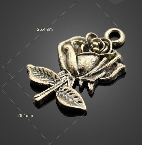30pcs Brass Rose Pendants Lot - Vintage | Wholesale Charms Supplies - 1PROY Driftwood & Healing Stones