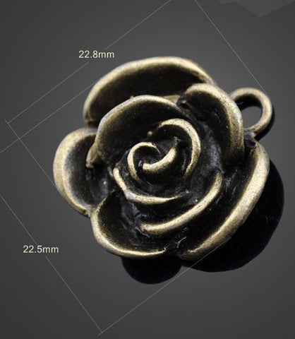 20pcs Bronze Pendants Rose | Antique Vintage Bronze | Wholesale Charms