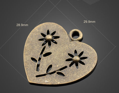 30pcs Bronze Pendant Large Flower Heart | Wholesale Charms Beadworks