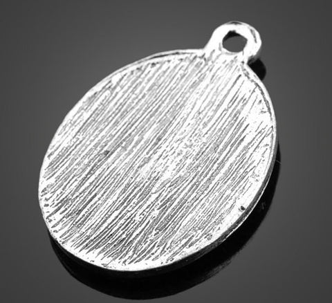 Vintage Silver Pendants -30pcs Oval Flower | Wholesale Charms Supplies