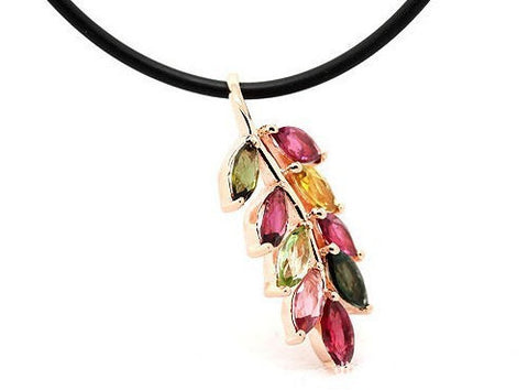 Tourmaline Leaf Rose Gold Pendant | Wholesale Sterling Silver Charms