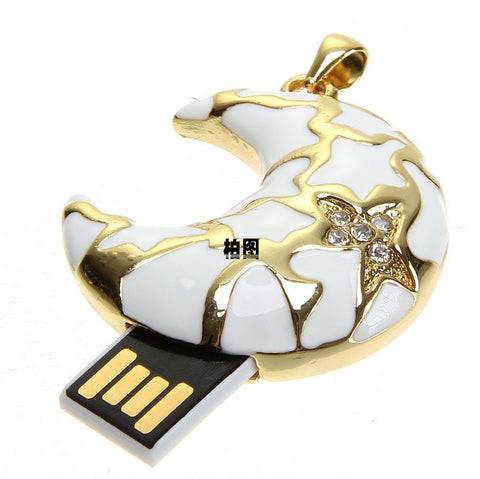 Flash Drive Crescent | USB Thumb Drive Pendrive Rhinestone Set 16GB 32GB