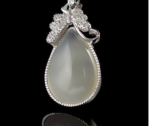 Large Chalcedony Jade Pendant | Silver | Healing Stones Supplies