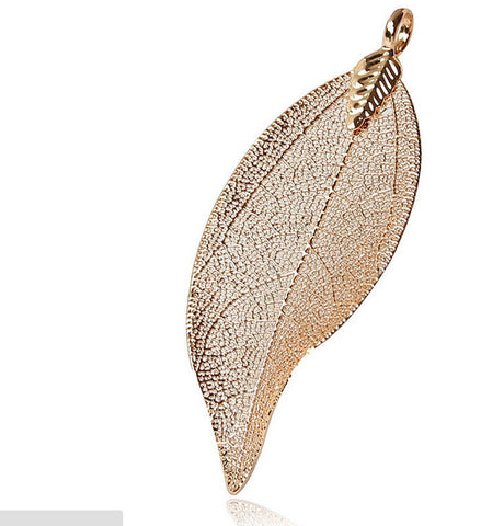 Silver/ Gold Real Leaf Pendant Large | Unique Wholesale Charm Supplies