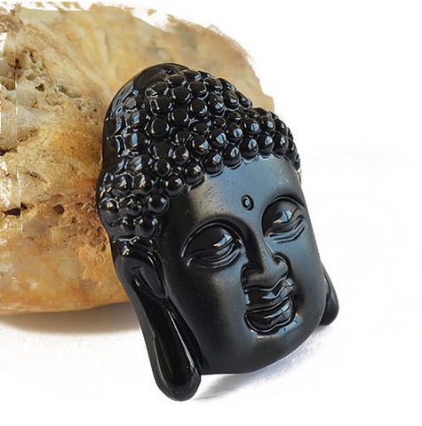 Obsidian Buddha Pendant Large | Healing Stones Jewelry Supplies