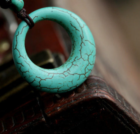 Turquoise Pendant - Loop Crescent | Healing Semi Precious Stones Wholesale - 1PROY Driftwood & Healing Stones