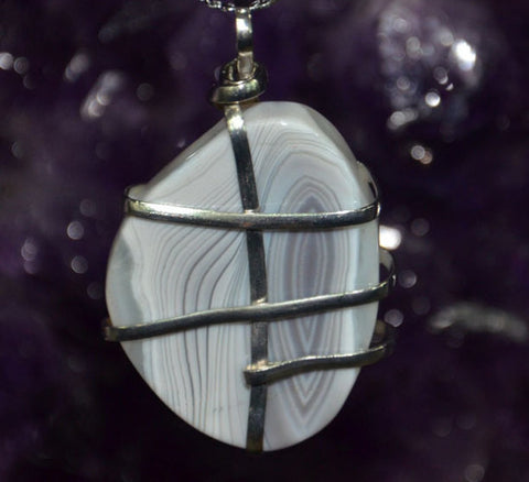 2pcs Agate Wire Pendant Lot | Freeform Lace Agate with Silver Wire and Bail - 1PROY Driftwood & Healing Stones