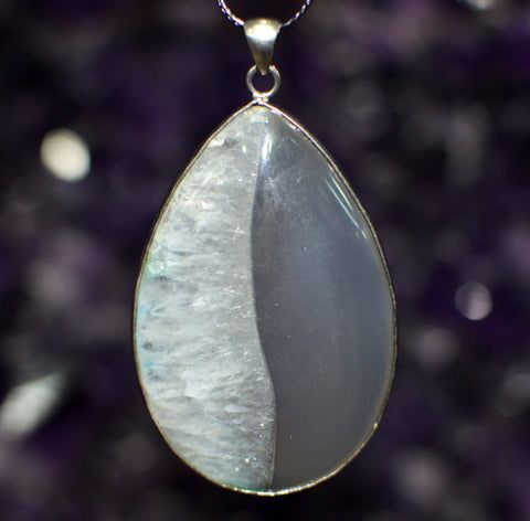 Agate Pendant- Extra Large Drop w/ Silver Tone Wrap | Healing Crystals and Stones - 1PROY Driftwood & Healing Stones