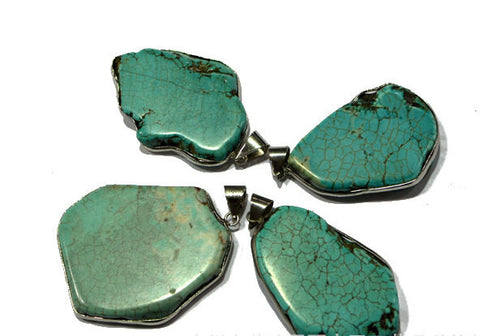 2pcs Turquoise Pendants w/ Wrapping | Healing Crystal and Stones Wholesale Lot - 1PROY Driftwood & Healing Stones